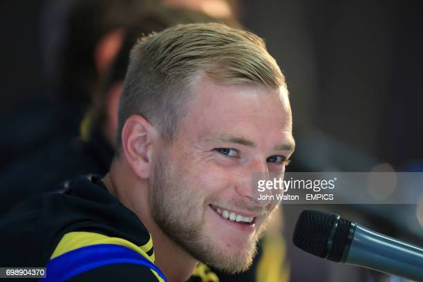 Sweden's John Guidetti smiles during the press conference