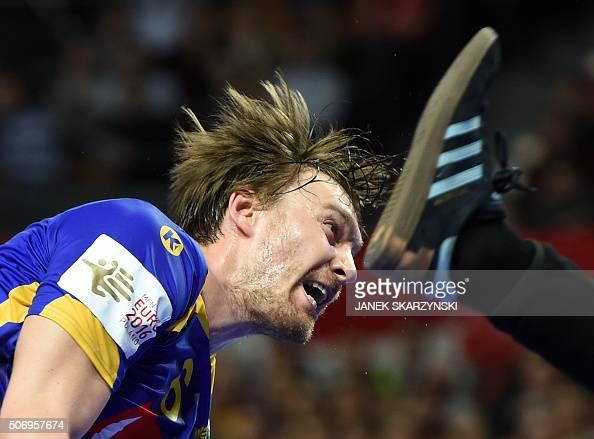 TOPSHOT Sweden's Jonas Kallman vies during the Men's 2016 EHF European Handball Championships between Denmark and Sweden in Centennial Hall in...