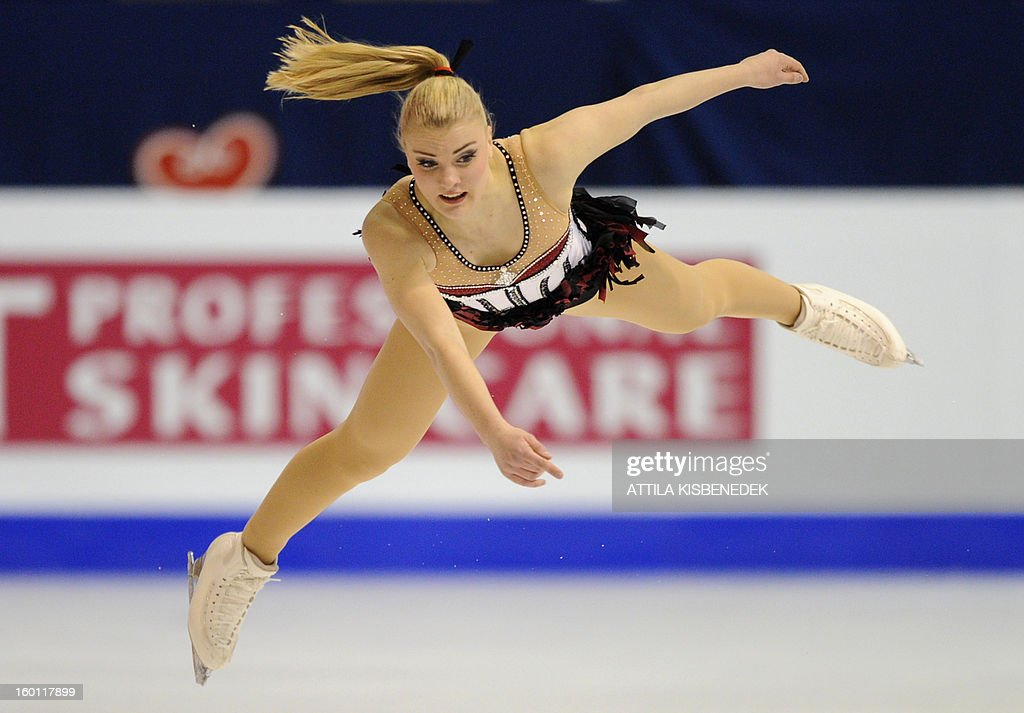 Sweden's Joshi Helgesson performs on ice in the Dom Sportova sports hall in Zagreb on January 26, 2013 during the women's free skating program of the ISU European Figure Skating Championships.