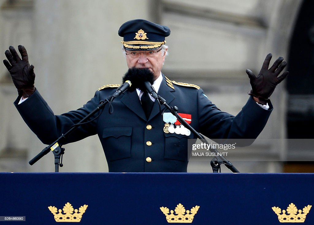 Sweden's King Carl Gustaf speaks from the Lejonbacken terrace at the Royal Palace during his 70th birthday celebrations in Stockholm, Sweden, April 30, 2016. News Agency / Maja Suslin/TT / Sweden OUT