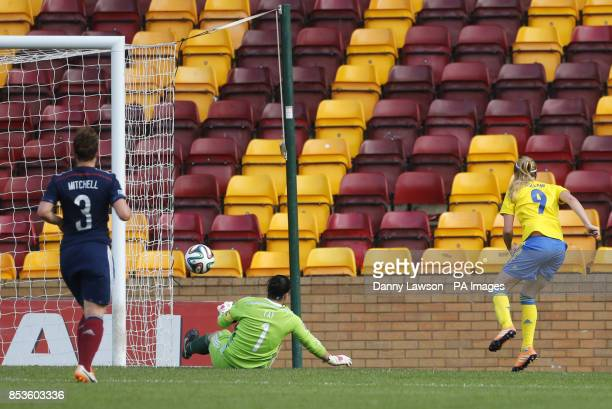 Sweden's Kosovare Asllani scores a goal during the FIFA Women's World Cup qualifying match at Fir Park Motherwell