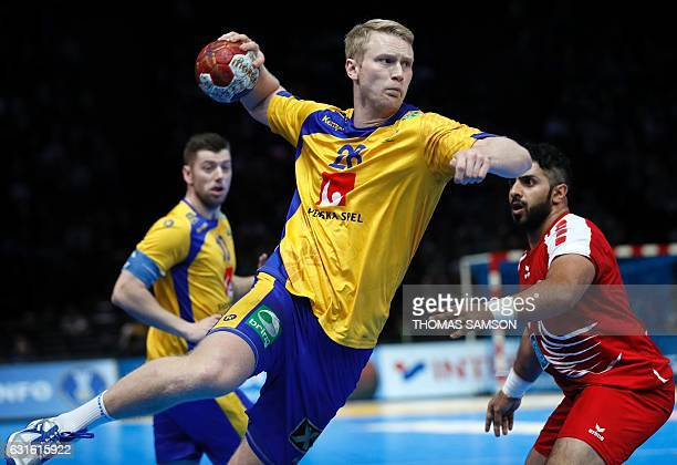 Sweden's left back Philip Stenmalm jumps to shoot during the 25th IHF Men's World Championship 2017 Group D handball match Sweden vs Bahrain on...