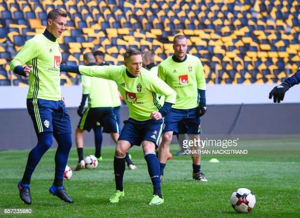 Sweden's Ludwig Augustinsson attends a training session of the Swedish national football team on the eve of the WC 2018 football qualification match...