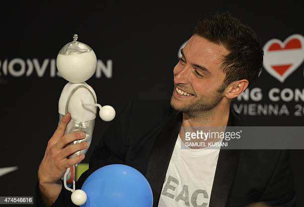 Sweden's Mans Zelmerlow attends a press conference after winning the Eurovision Song Contest final early on May 24 2015 in Vienna AFP PHOTO / SAMUEL...