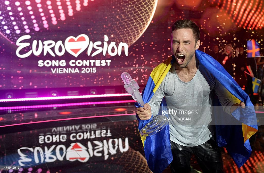 Sweden's Mans Zelmerlow reacts after winning the Eurovision Song Contest final on May 23, 2015 in Vienna.