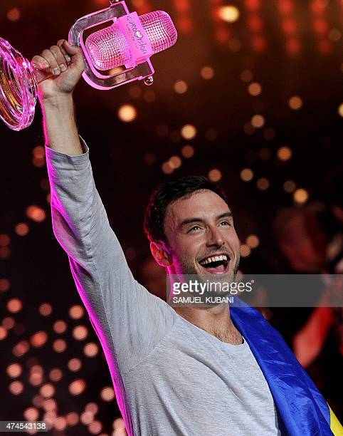 Sweden's Mans Zelmerlow reacts after winning the Eurovision Song Contest final on May 23 2015 in Vienna AFP PHOTO / SAMUEL KUBANI