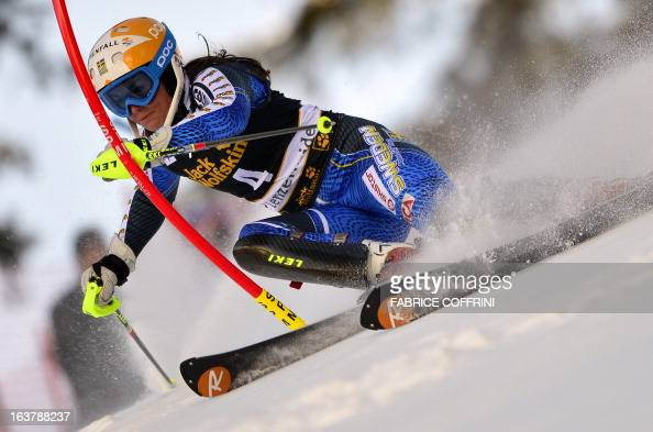 Sweden's Maria PietilaeHolmner competes during the Women Slalom race at the Alpine ski World Cup finals on March 16 2013 in Lenzerheide AFP PHOTO /...