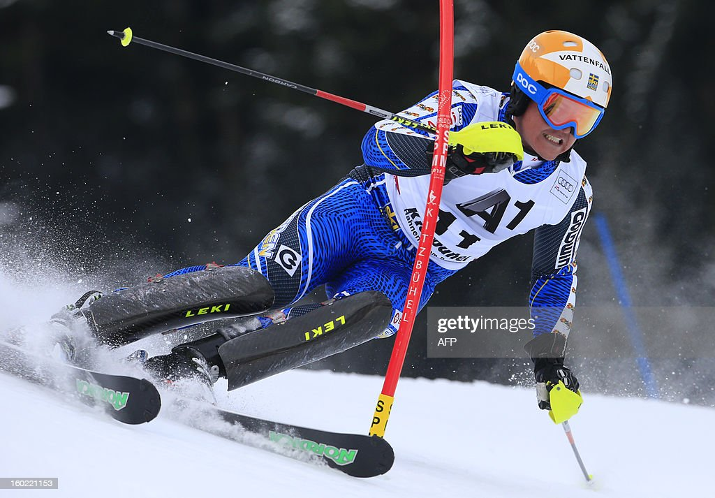 Sweden's Mattias Hargin competes during the first round of the FIS World Cup men's slalom race on January 27, 2013 in Kitzbuehel, Austrian Alps. AFP PHOTO / ALEXANDER KLEIN