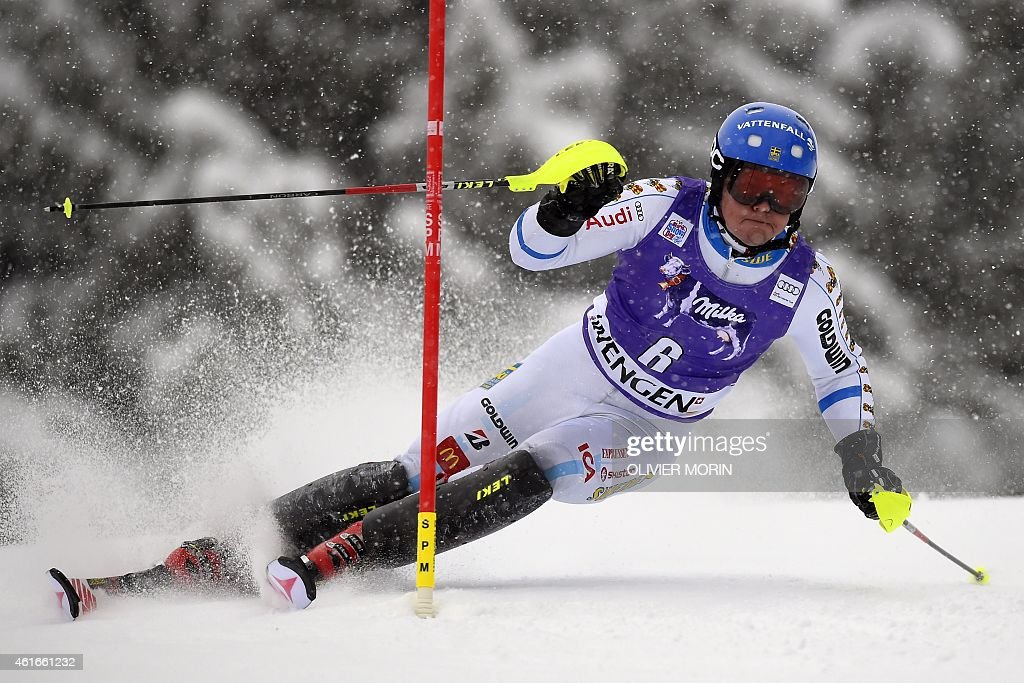 Sweden's <a gi-track='captionPersonalityLinkClicked' href=/galleries/search?phrase=Mattias+Hargin&family=editorial&specificpeople=4131687 ng-click='$event.stopPropagation()'>Mattias Hargin</a> competes in the FIS Ski World Cup Men's Slalom in Wengen on January 17, 2015. AFP PHOTO / OLIVIER MORIN