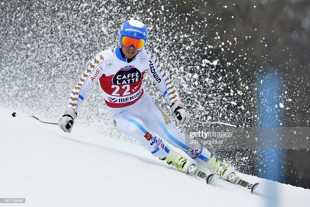 Sweden's <a gi-track='captionPersonalityLinkClicked' href=/galleries/search?phrase=Matts+Olsson&family=editorial&specificpeople=5658817 ng-click='$event.stopPropagation()'>Matts Olsson</a> competes in the first run of the Men's Giant Slalom race at the FIS Alpine Skiing World Cup finals in Meribel on March 21, 2015.