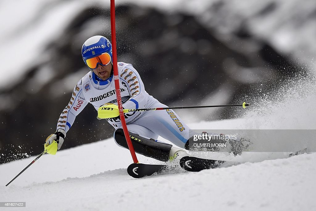 Sweden's <a gi-track='captionPersonalityLinkClicked' href=/galleries/search?phrase=Matts+Olsson&family=editorial&specificpeople=5658817 ng-click='$event.stopPropagation()'>Matts Olsson</a> competes in the slalom race of the FIS Ski World Cup Men's Alpine Combined in Wengen on January 16, 2015.