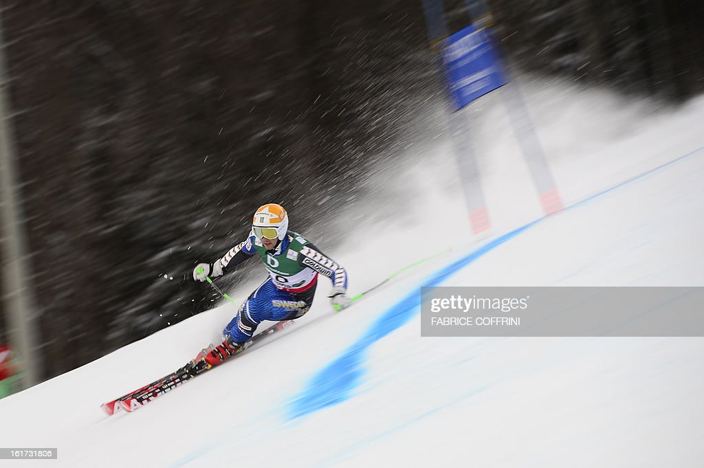 Sweden's Matts Olsson skis during the first run of the men's Giant slalom at the 2013 Ski World Championships in Schladming, Austria on February 15, 2013.