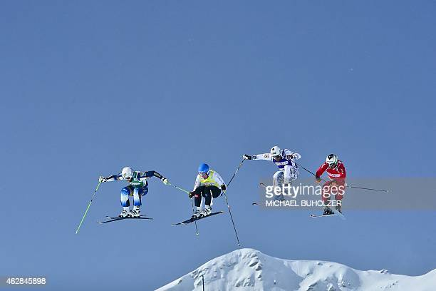 Sweden's Michael Forslund Finland's Jouni Pellinen France's Arnaud Bovolenta and Switzerland's Alex Fiva during the Men's Snow Ski Cross Final at FIS...