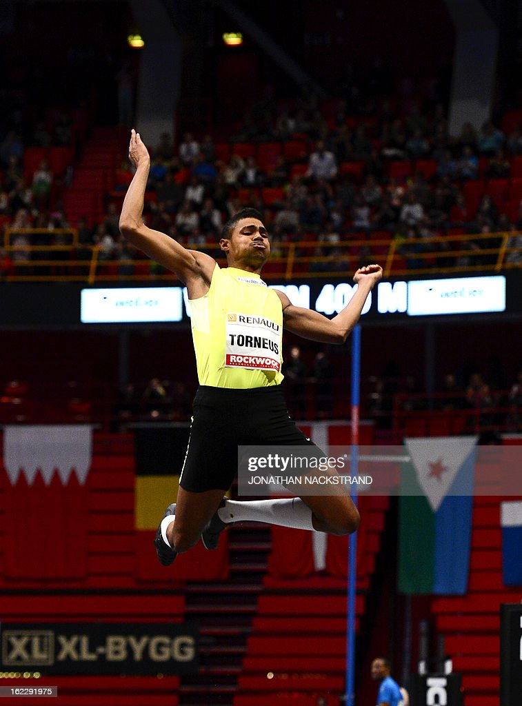 Sweden's Michel Torneus competes to win the men's long jump event during the XL Galan Stockholm Indoor Athletics meeting on February 21, 2013 at the Ericsson Globe Arena in Stockholm. AFP PHOTO/JONATHAN NACKSTRAND