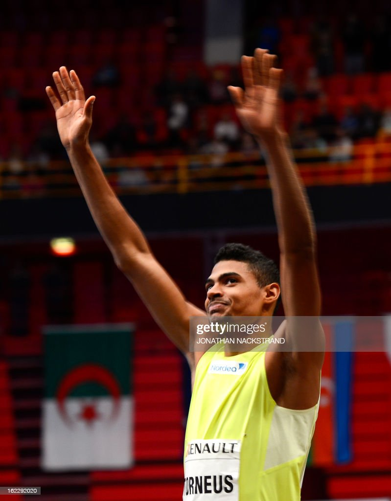 Sweden's Michel Torneus reacts after winning the men's long jump event during the XL Galan Stockholm Indoor Athletics meeting on February 21, 2013 at the Ericsson Globe Arena in Stockholm.