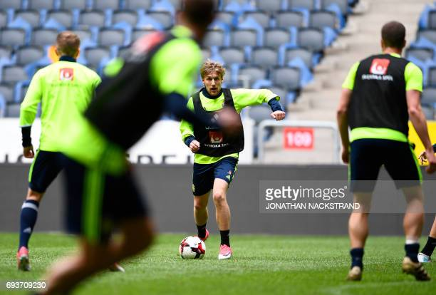 Sweden's midfielder Emil Forsberg attends a training session of the Swedish national football team on the eve of the WC 2018 football qualification...