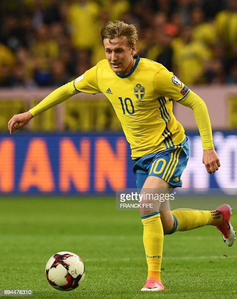 Sweden's midfielder Emil Forsberg controls the ball during the FIFA World Cup 2018 qualifying football match Sweden vs France on June 9 2017 at the...