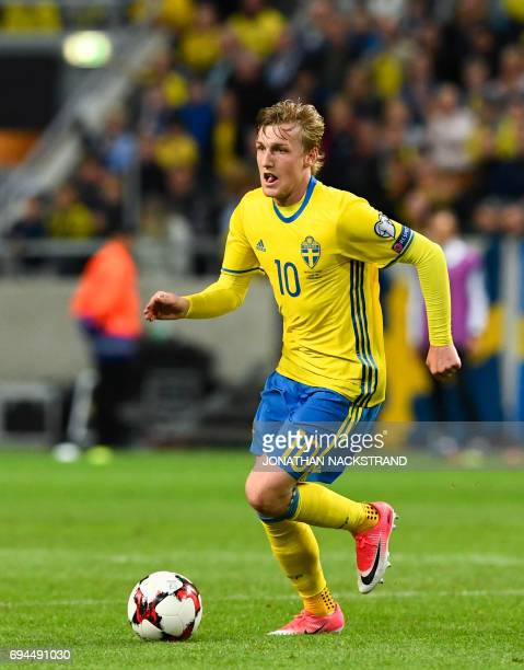 Sweden's midfielder Emil Forsberg controls the ball during the FIFA World Cup 2018 qualification football match between Sweden and France in Solna on...