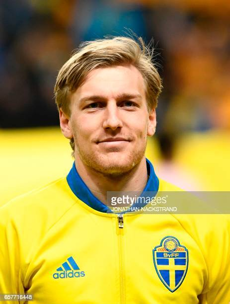 Sweden's midfielder Emil Forsberg is pictured prior to the FIFA World Cup 2018 qualification football match between Sweden and Belarus in Solna on...