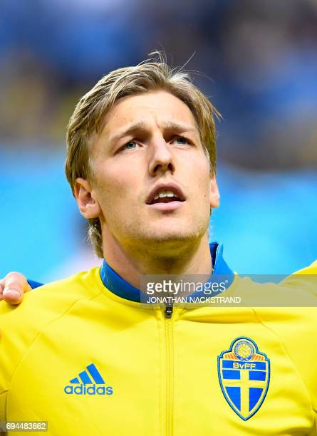 Sweden's midfielder Emil Forsberg is pictured prior to the FIFA World Cup 2018 qualification football match between Sweden and France in Solna on...