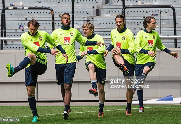 Sweden's midfielder Kim Kallstrom forward Isaac Kiese Thelin midfielder Emil Forsberg forward and team captain Zlatan Ibrahimovic and midfielder...