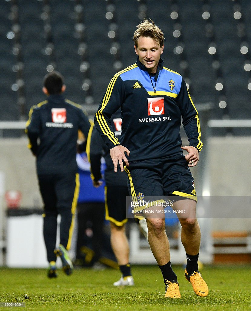 Sweden's midfielder Kim Kallstrom takes part in a training session of the Swedish national football team at the 'Friends Arena' in Stockholm, Sweden, on February 4, 2013 two days before the FIFA World Cup 2014 friendly match Sweden vs Argentina.