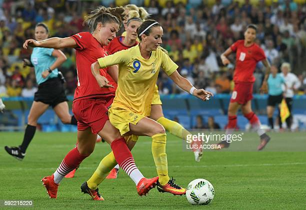Sweden's midfielder Kosovare Asllani controls the ball during the Rio 2016 Olympic Games women's football Gold medal match at the Maracana stadium in...