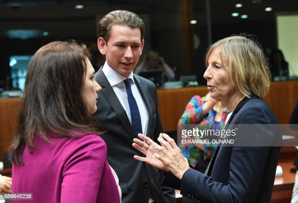 Sweden's Minister for European Affairs Ann Linde Austria's Foreign Minister Sebastian Kurz and French Minister for European Affairs Marielle de...