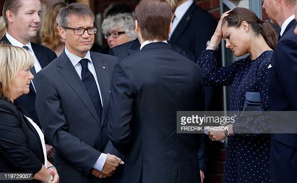 Sweden's minister of Justice Beatrice Ask minister for Social Affairs Goeran Hagglund Crown Princess Victoria and Prince Daniel leave the Norwegian...