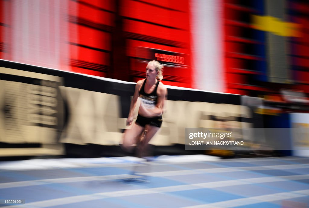 Sweden's Moa Hjelmer competes in the women's 400m event during the XL Galan Stockholm Indoor Athletics meeting on February 21, 2013 at the Ericsson Globe Arena in Stockholm.