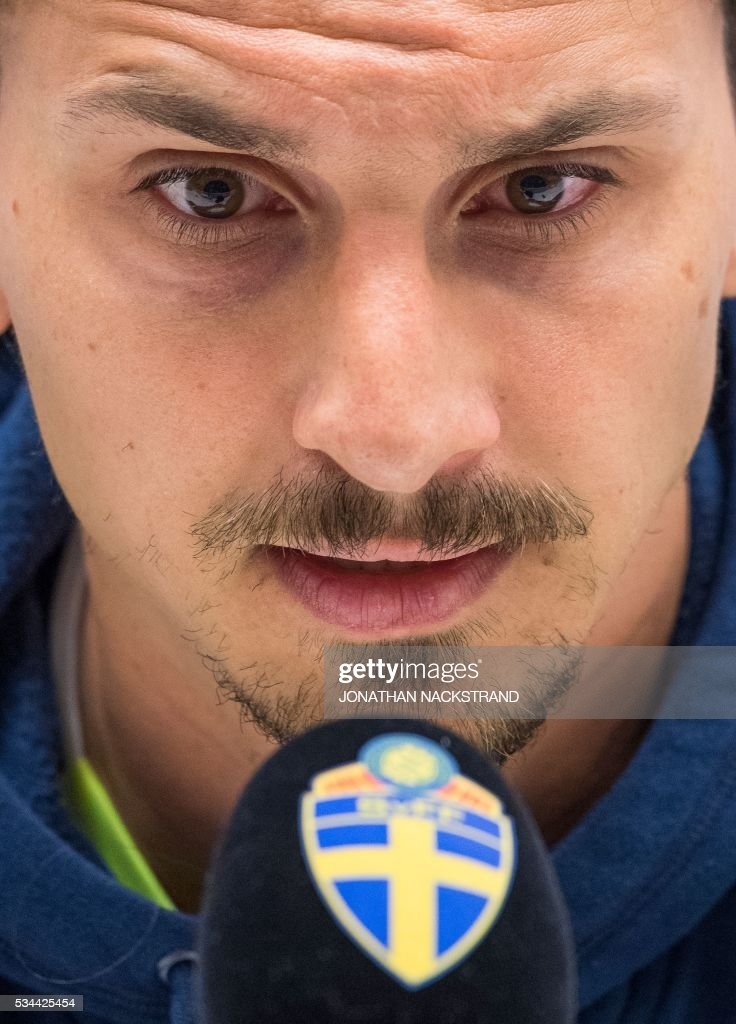 Sweden's national football team forward and team captain Zlatan Ibrahimovic speaks during a press conference at Friends Arena in Solna, near Stockholm on May 26, 2016. / AFP / JONATHAN
