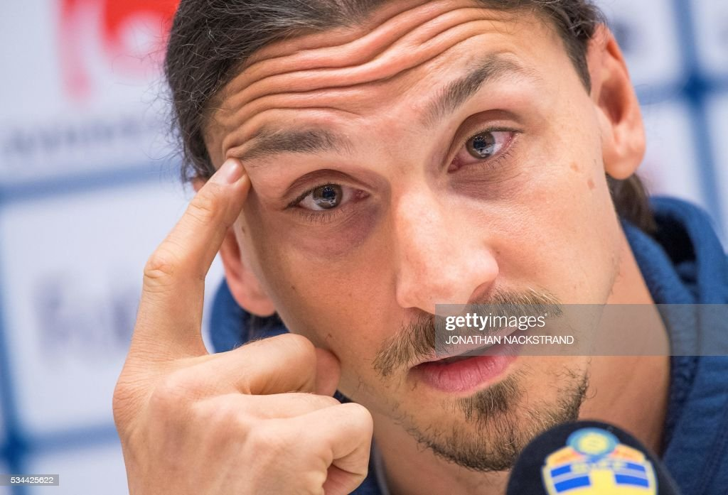 Sweden's national football team forward and team captain Zlatan Ibrahimovic attends a press conference at Friends Arena in Solna, near Stockholm on May 26, 2016. / AFP / JONATHAN