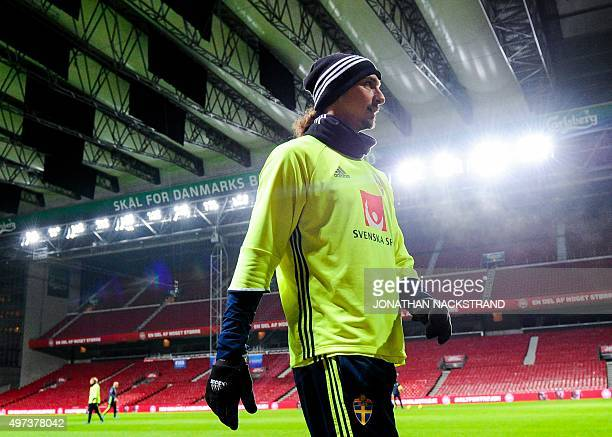 Sweden's national football team player forward and team captain Zlatan Ibrahimovic attends a training session at the Parken stadium in Copenhagen on...