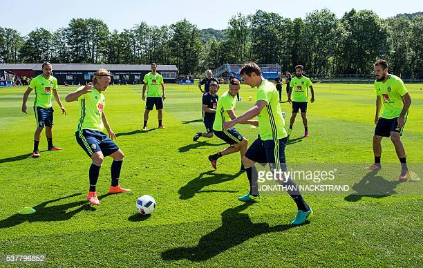Sweden's national football team players attend a training session in Bastad Sweden on June 3 where the team stays for a training camp as part of...
