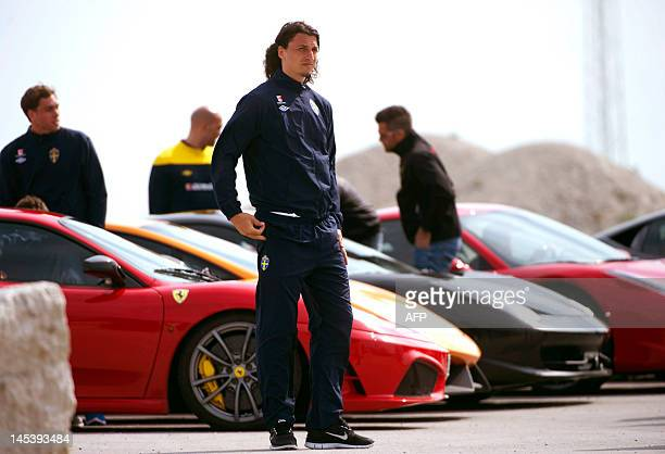 Sweden's national team striker Zlatan Ibrahimovic and his teammates visit the racing track Gotland Ring to drive racing cars on Gotland island on May...