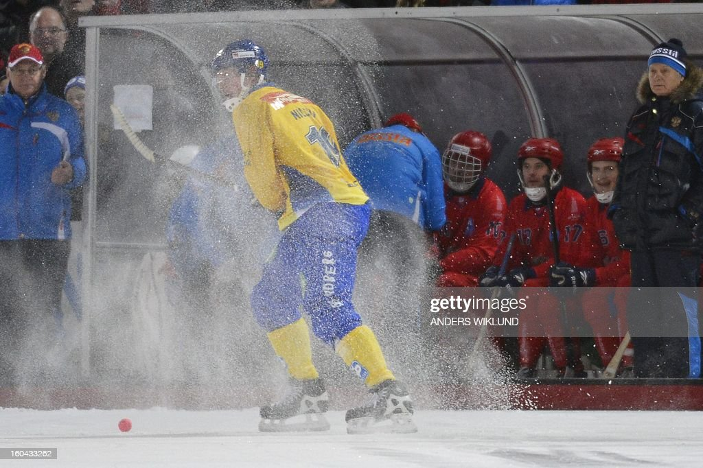 Sweden's Patrik Nilsson is enveloped in snow during the Bandy World Championship match between Sweden and Russia in Goteborg, Sweden, on January 31, 2013. AFP PHOTO / ANDERS WIKLUND / SCANPIX SWEDEN / SWEDEN OUT