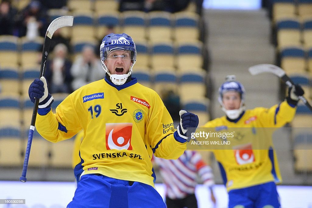 Sweden's Patrik Nilsson (L) reacts after scoring the 1-0 goal during Bandy World Championship semifinal match Sweden vs Finland in Vanersborg, Sweden, February 2, 2013.