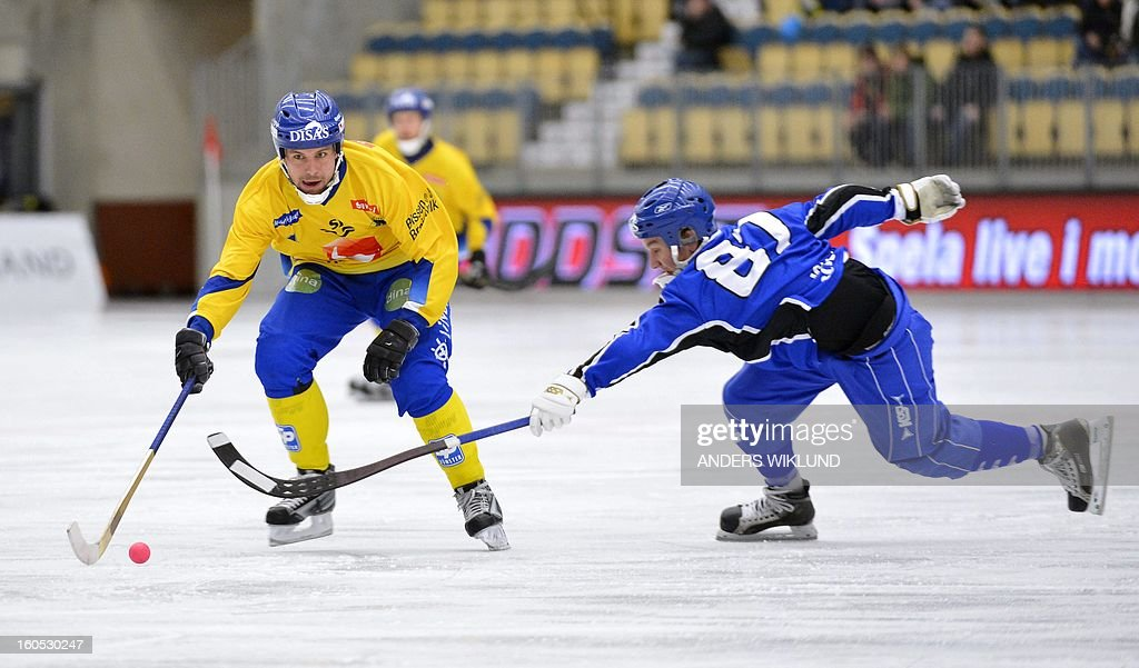 Sweden's Per Hellmyrs and Finland's Sami Laakkonen vie during Bandy World Championship semifinal match Sweden vs Finland in Vanersborg, Sweden, February 2, 2013.