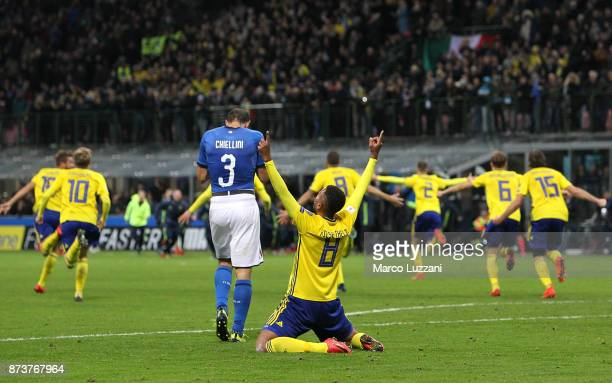 Sweden's players celebrate at the end of the FIFA 2018 World Cup Qualifier PlayOff Second Leg between Italy and Sweden at San Siro Stadium on...