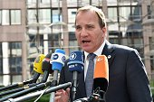Sweden's Prime minister Stefan Lofven addresses reporters as he arrives at the European Council headquarters for an extraordinary summit of European...
