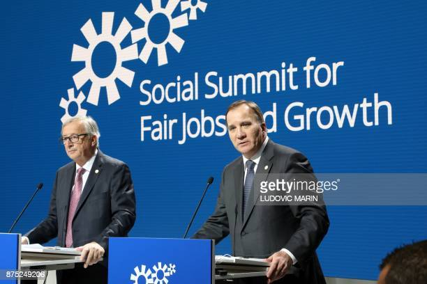 Sweden's Prime minister Stefan Lofven speaks next to President of the European Commission JeanClaude Juncker during the European Social Summit in...