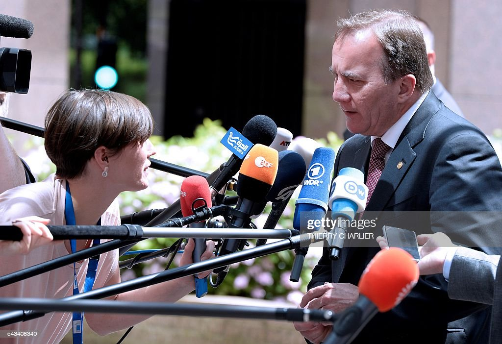 Sweden's Prime minister Stefan Lofven talks to the press as he arrives before an EU summit meeting on June 28, 2016 at the European Union headquarters in Brussels. / AFP / THIERRY