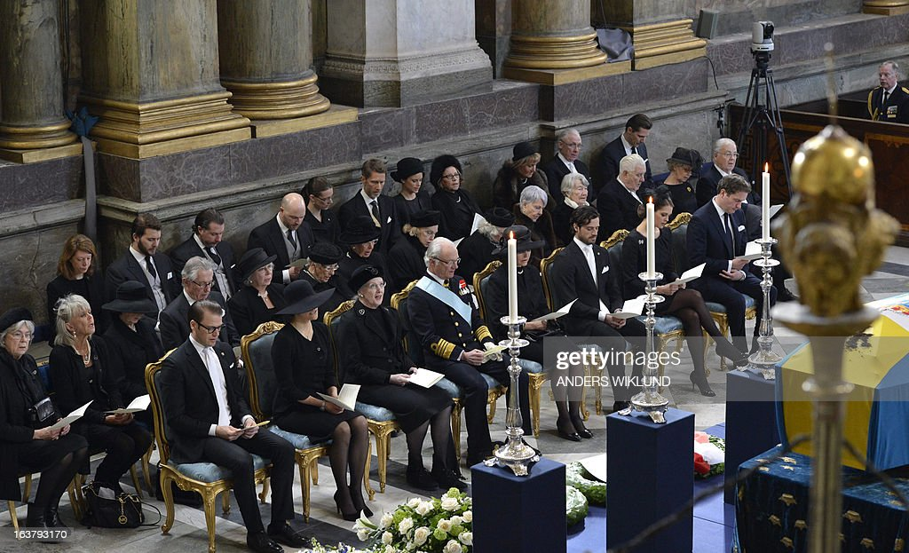 Sweden's Prince Daniel, Crown Princess Victoria, Denmark's Queen Margrethe, Sweden's King Carl Gustaf, Queen Silvia, Sweden's Prince Carl Philip, Swedish Princess Madeleine and her American fiancée Chris O'Neill attend the funeral service for Sweden's British-born Princess Lilian at the Royal Chapel of the Royal Palace in Stockholm on March 16, 2013. Princess Lilian died on Sunday, March 10, 2013 at the age of 97.