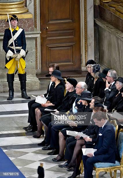 Sweden's Prince Daniel Crown Princess Victoria Denmark's Queen Margrethe Sweden's King Carl Gustaf Queen Silvia Sweden's Prince Carl Philip Swedish...