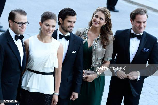 Sweden's Prince Daniel Crown Princess Victoria Prince Carl Philip Princess Madeleine and Christopher O'Neill arrive for the Swedish Government's...