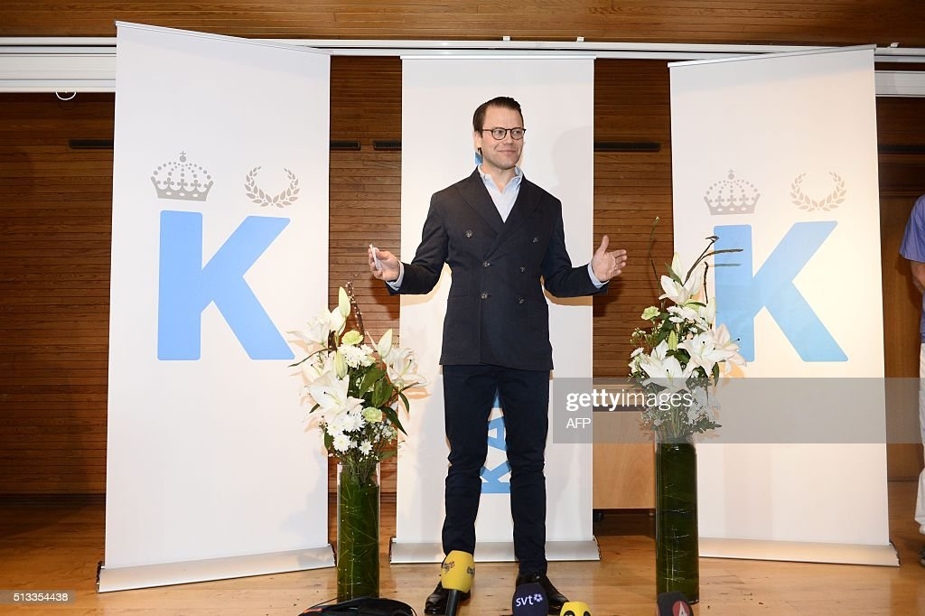 Sweden's Prince Daniel speaks to the media during a news conference at Karolinsaka hospital announcing that Crown Princess Victoria gave birth to a baby boy March 2, 2016. News Agency / Henrik Montgomery / Sweden OUT