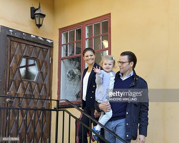 Sweden's Princess Estelle arrives together with her parents Crown Princess Victoria and Prince Daniel for her first day of preschool at the...