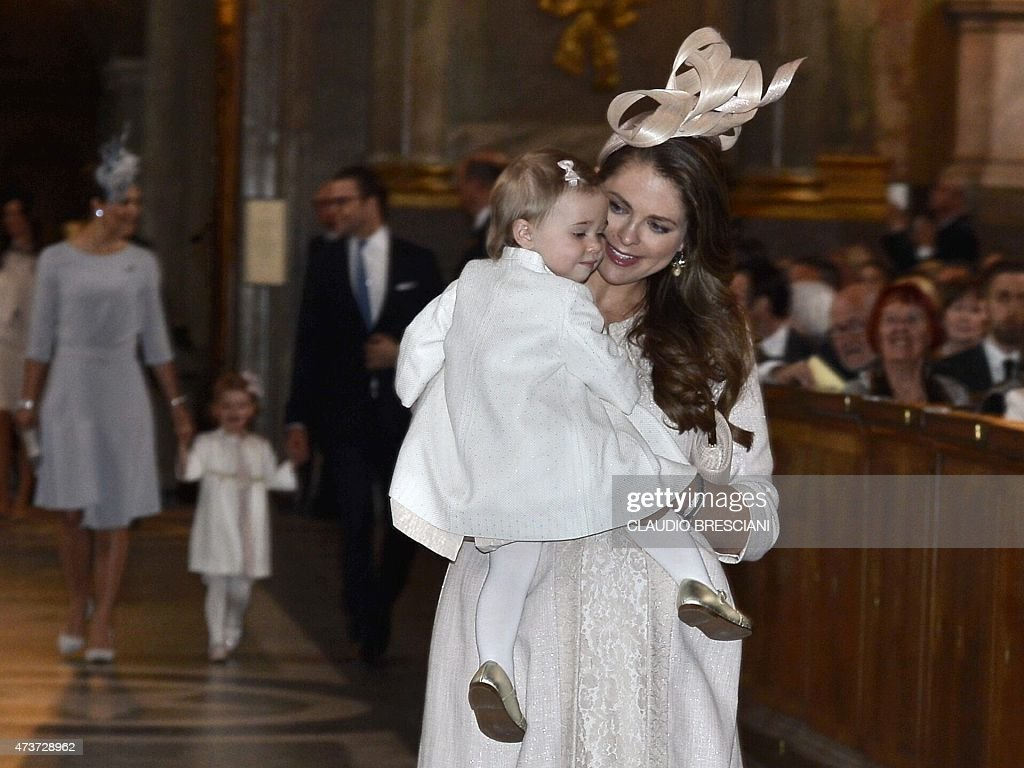 Sweden's Princess Madeleine and her daughter Leonore arrive for a service in the Royal Chapel in Stockholm, Sweden, on May 17, 2015. Prince Carl Philip and his bride-to-be, Sofia Hellqvist, announced their impending marriage at a traditional church service in Stockholm. The wedding will take place on June 13, 2015.