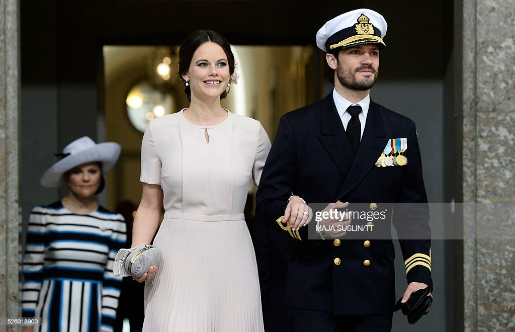 Sweden's Princess Sofia and Prince Carl Philip arrive for the Te Deum thanksgiving service in the Royal Chapel during King Carl XVI Gustaf of Sweden's 70th birthday celebrations in Stockholm, Sweden, April 30, 2016. News Agency / Maja Suslin/TT / Sweden OUT