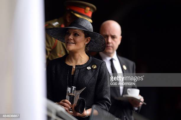 Sweden's Princess Victoria is seen in the VIP tribunes during the memorial service of South African former president Nelson Mandela at the FNB...